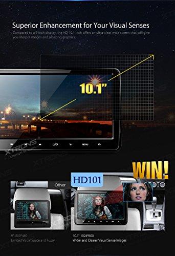 XTRONS-2x-101-Inch-Twins-HD-Digital-Screen-Car-Headrest-DVD-Player-Ultra-thin-Detachable-Touch-Button-HDMI-Port-with-One-Pair-of-Children-IR-HeadphonesBluePink-0-1