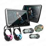 XTRONS-2x-101-Inch-Twins-HD-Digital-Screen-Car-Headrest-DVD-Player-Ultra-thin-Detachable-Touch-Button-HDMI-Port-with-One-Pair-of-Children-IR-HeadphonesBluePink-0