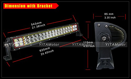 YITAMOTOR-2-X-120W-24-inch-Spot-Flood- YITAMOTOR 2 X 120W 24\u2033 inch Spot Flood Combo LED Light Bar Car 4WD