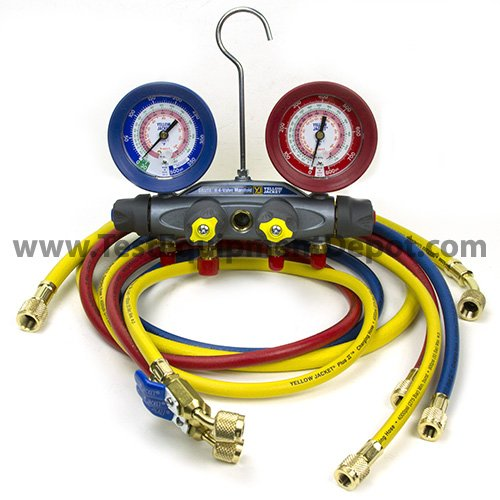 Yellow-Jacket-46013-Brute-II-Test-and-Charging-Manifold-FC-RedBlue-Gauge-psi-R-22404A410A-0