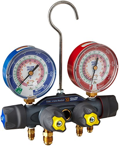 Yellow-Jacket-49963-Manifold-Only-degrees-F-psi-Scale-R-22404A410A-Refrigerant-RedBlue-Gauges-0