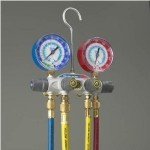 Yellow-Jacket-49967-Titan-4-Valve-Test-and-Charging-Manifold-degrees-F-psi-Scale-R-22404A410A-Refrigerant-RedBlue-Gauges-0