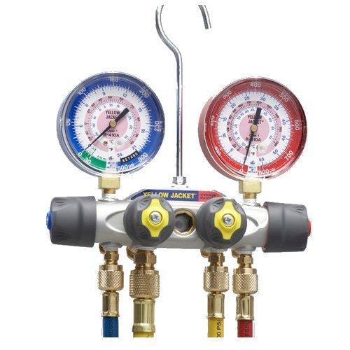 Yellow-Jacket-49968-Titan-4-Valve-Test-and-Charging-Manifold-degrees-F-FC-psi-R-22404A410A-F-RedBlue-Gauges-0