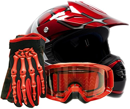 Youth-Offroad-Gear-Combo-Helmet-Gloves-Goggles-DOT-Motocross-ATV-Dirt-Bike-MX-Spiderman-Red-0