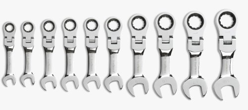 GearWrench-9550-10-Piece-Metric-Stubby-Flex-Head-Combination-Ratcheting-Wrench-Set-0-0