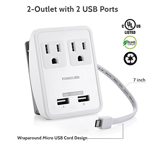 Poweradd-UL-Listed-2-Outlet-International-Travel-Charger-Adapter-with-Interchangeable-Worldwide-UKUSAUEU-Plugs-Dual-USB-Charging-Ports-Input-Voltage-100V240V-0-0