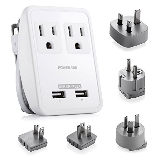 Poweradd-UL-Listed-2-Outlet-International-Travel-Charger-Adapter-with-Interchangeable-Worldwide-UKUSAUEU-Plugs-Dual-USB-Charging-Ports-Input-Voltage-100V240V-0