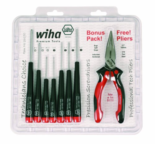 Wiha-26190-Slotted-and-Phillips-Screwdriver-Set-Bonus-Pack-with-Professional-63-Long-Nose-Pliers-8-Piece-0